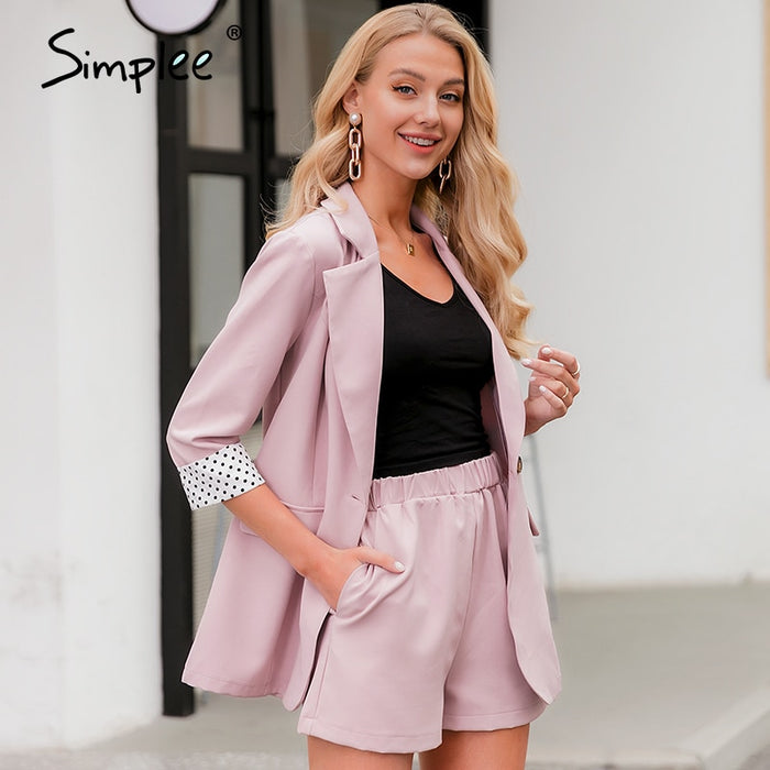 Simplee Elegant two-piece women blazer suit Button pockets polka dot female blazer