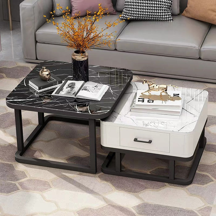 Tempered Glass 2 in 1 Combination Coffee Table with solid wooden Drawer Storage center table
