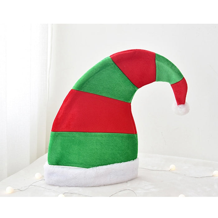 Big Sized Christmas Santa Elf Hat Red And Green Striped Design With White Festive Party Hat