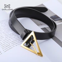 Women Thin Belt Pin Buckle Triangle Gold Clasp Luxury Brand Fashion Trendy Designer Dress Mini Small Simple PU Leather Belts 413