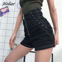 HELIAR Women Black Leather Shorts Cross Bandage Short Pants Fashion High Street Solid PU Shorts Slim Sexy Hot Short 2020 Summer