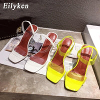 Eilyken White Yellow PVC Jelly Sandals Crystal Open Toe Perspex Spike High Heels Transparent Heel Sandals Slippers 9CM Pumps