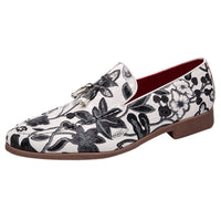 Men Casual Classic Flower Pointed Casual Shoes Slip On Business Shoes Men Business