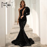 Missord Women Sexy One Shoulder Puff Sleeve Sequin Dress Hollow Out Female Floor Length Maxi Dress Evening Party Dress M0803-1