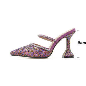 Kcenid Fashion glitter crystal runway slippers women spike heel mules rhinestone strap pointed toe high heel party wedding shoes