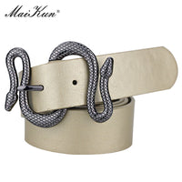 Maikun Belts for Women Snake Shape Pin Buckle Belt High Quality Leather Women Belt