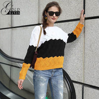 Gold Hands New Women Vintage Splice Autumn Ladies Pullover Jumper Winter Long Sleeve Crewneck Knitted Pullover Sweater Free Ship