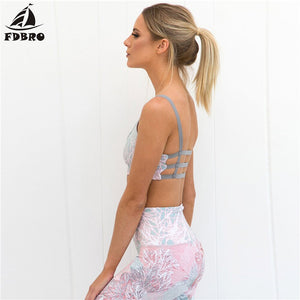 FDBRO Yoga Set Fitness Clothing Floral Printed Tracksuit Sexy Bra + Legging Tights Running Sports Wear for Women Gym Sport Suit