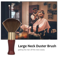 Large Neck Duster Brush Hair Cutting Neck Brush Face Cleaning Hairbrush with Soft Bristles Wooden Handle for Salon Hair Cutting