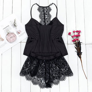 VICTORIA'S KEY Black Pajama Set Women Satin Sleepwear Spaghetti Strap Camis Top Floral Lace Shorts Sexy Lingerie Pijama Femme