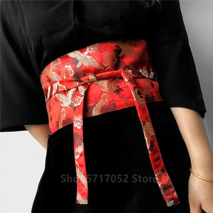 Japanese Embroidery Vintage Style Woman Kimono Belt Elastic Waist Cummerbunds Wide Belt