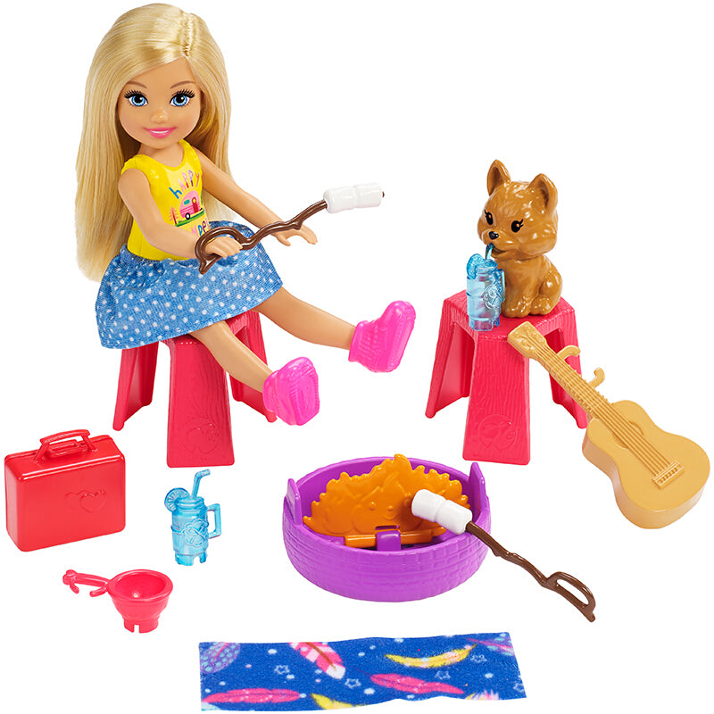 Original Club Chelsea Barbie Doll Toys For Girls Camping Car Playset W Jyards