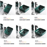 Grean Ceramic Wash Basin Glaze Spraying  Bathroom Sink Counter Bathroom Accessory Sqaure Shampoo Sinks