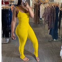 Wjustforu Beach Sexy Pleated Jumpsuit For Women Stacked Sweatedpants Spaghetti Strap Hollow Out Bodysuit Summer Romper Vestidos