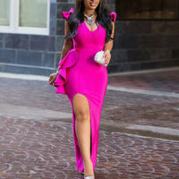 OMSJ 2019 New Hot Elegant Sexy Party Neon Pink Bodycon Dress Vintage Deep V-neck Women Sleeveless Long Dress Ruffles Maxi Dress