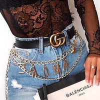Bohemian Retro Style Multilayer Alloy Waist Chain Body Chain for Women LAMORE Letter Pendant Belly Chain Waist Chain Jewelry