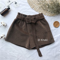 Wool Thick Ladies Loose Sashes Spring Shorts Womens Elastic Waist Wide leg Shorts Autumn Vintage Thicken High waist Shorts 2019