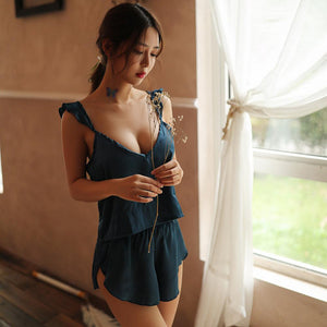 Silk Pajamas Two Pieces Women Sexy Lingerie Pijama Frill Hem Satin Cami Female Sexy Lounge Sets Satin & Lace Sleepwear Set