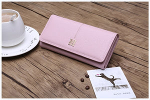 PU Leather Long Brand Design Large Capacity Ladie Wallet for Women with Phone Holder