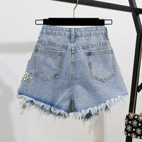 Fashion Cotton T-Shirt Tops + Short Jeans 2 Pieces Sets 2020 New Summer Designer Women's Denim Pants 3D Flowers Beading Suit