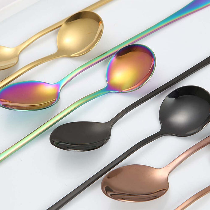 1PC Rainbow Colorful Spoon Long-handled Spoon Dessert Ice Cream Coffee Spoon Kitchen