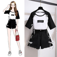 Summer Women's Suits Color Patchwork T-Shirt Tie Jean Shorts Casual Girl's Two Piece Sets