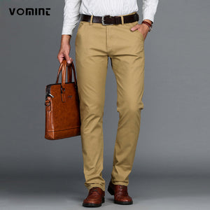 VOMINT Mens Pants Cotton Casual  Stretch male trousers man long Straight High Quality 4 color Plus size pant suit  42 44 46