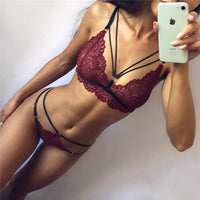 2Pcs/set Women Sexy Costume Bar Uniform Mini Cross Bandage Female Transparent Temptation Bralette Lady Erotic Lingerie Open Bra