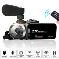 Full HD 2.7K Video Camcorder Camera 1080P Vlog Camera 30MP 16X Digital Zoom LCD with Noise Canceling Microphone