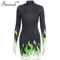 Simenual Fitness Sexy V Neck Bodycon Dress Women Long Sleeve Neon Flame Print Dresses