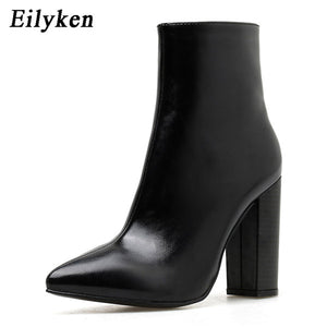 Eilyken 2019 New Winter Women Ankle Boots Fashion Pointed Toe Zip Square High Heels PU
