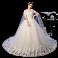 Elelgant Court Train Lace Wedding Dress 2019 New Princess Vintage Bride Dress Plus Szie Vestidos De Casamento Do Trem Da Corte