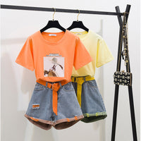 2020 Summer Fashion neon Twinset Women Patchwork Strap Short Sleeve Cotton T-Shirt + Hole Short Jeans Set 2PCS Clothing Set