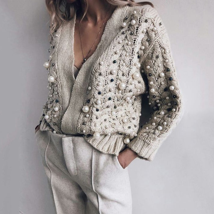 Beading Designer Cardigan Women Sweater Winter Autumn 2019 Fashion Brand Plus Size