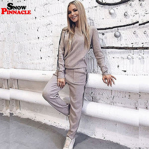 Knitted Sweater customs suits 2019 New O-neck pullovers + long pants thick warm women suits sets Casual sweater