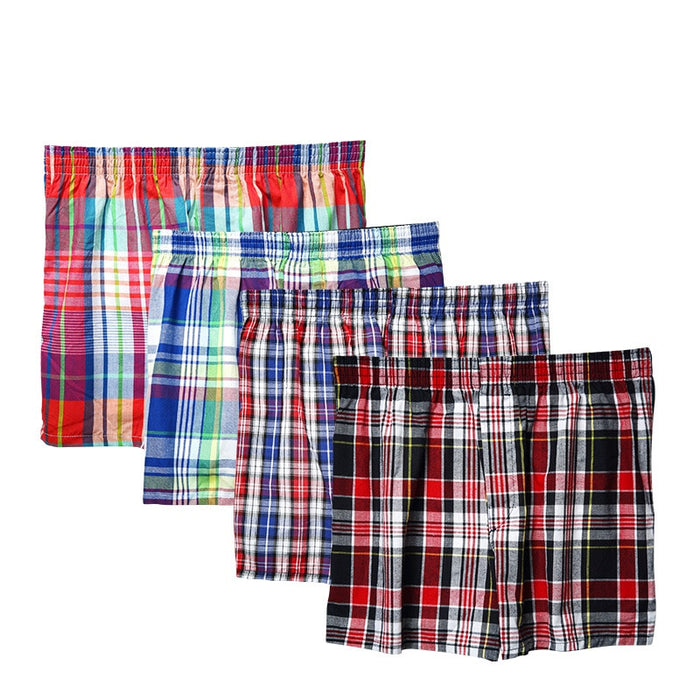 Men's Cotton Shorts Knit Trunks Plaid Woven Mid Waist Underwear Plus Size Pants Coto