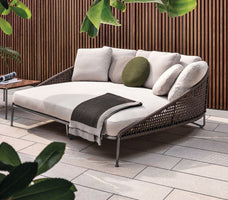 Armrest designed villa outdoor sleeping sunbathing daybed teak furniture