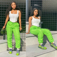 Plus Size High Waist Hip Ruched Cargo Pants Women Elastic Joggers Neon Green Black Summer Hip Hop Trousers Loose Sweatpants 1641