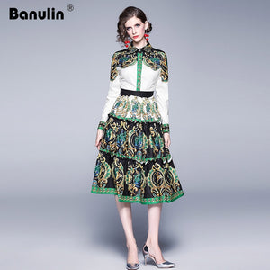 New 2019 Autumn Fashion Runway Designer Dress Women's Long Sleeve Single-Nreasted Green Floral Print Midi Vintage Dress
