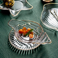 Nordic Home Decor Marine Series Tableware Glass Dessert Dish Candy Dish Salad Bowl With Golden Edge talerze тарелка для фруктов