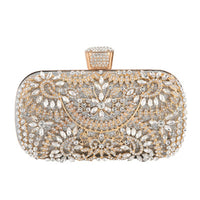 Women Flower Crystal Clutch for Wedding Party Rhinestone Evening Bag  Best Sale-WT