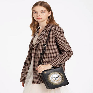 2019 New Personalized Fun Fashion Clock Shape Leather Bag Ladies Shoulder Bag Luxury Designer Famous Brands Party Clutches Purse