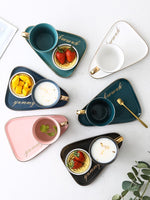European Luxurious Ceramic Office Coffee Cup And Saucer Set Milk Tea Mugs Birthday Couples Gifts Friends Cup With Spoon Gift Box