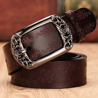 Genuine Leather Belts for Women Second Layer Cowskin Woman Belt Vintage Pin Buckle Strap Jeans