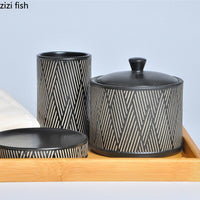 Black / White Ceramic Bathroom Five-Piece Bathroom Toothbrush Cup Mouth Cup Wedding Wash Cup Set with Tray