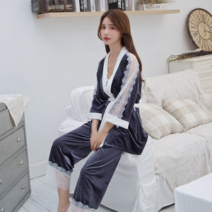 JULY'S SONG  Winter Sleepwear Women  Pajamas Set Sexy Lace  3 Pieces Velvet Warm Sexy