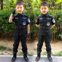Halloween Kid SWAT Police Uniform Cosplay Costume Carnival Party Playtime Boy Girl Coolest Cute Top Pants Set Disguice Clothing