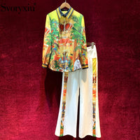 Svoryxiu Runway Spring Summer Vintage Two Piece Set Women's Long Sleeve Jungle Animal Print Blouse + White Pants Fashion Suits