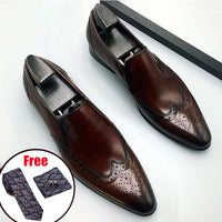 Genuine leather Men brogue Business Wedding banquet shoes casual flat shoes vintage handmade oxford shoes for men black brown