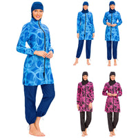 3pcs Muslim Swimwear Burkini Women Islamic Hijab Swimsuit Modest Beachwear Arab Swimming Surf Bathing Suit Full Cover Zipper Set
